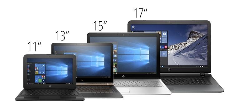 """notebook velikost 11"""" vs 13"""" vs 15"""" vs 17"""""""